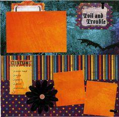 12x12 Premade Halloween Scrapbook Page  by SusansScrapbookShack