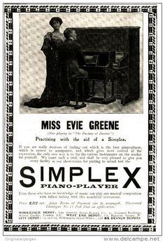 Original - Anzeige / Advertise 1903 : (ENGLISH) SIMPLEX PIANO PLAYER / MISS EVIE GREENE - 115 x 175 mm