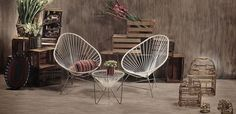 Want the table for my chairs. Outdoor Chairs, Outdoor Furniture, Outdoor Decor, Acapulco Chair, Ghost Chairs, Tiny Living, Hanging Chair, Outdoor Living, Furniture Design