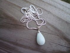 Blue Peruvian Opal Pendant Necklace by tlw1212 on Etsy