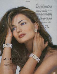 Mikimoto pearls ad featuring Paulina Porizkova