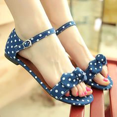 Summer Dot Bow Flat Open buckle Sandals Just For Ladies Click The Picture To See More