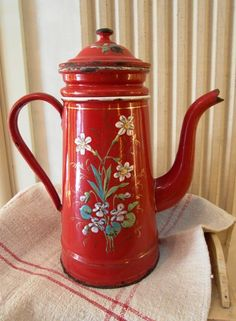 Enameled French COFFEE Pot ETOILE PEN in Red hand painted Flowers