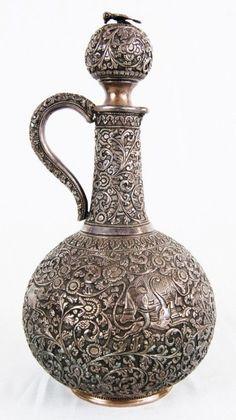 Sterling silver wine jar. Persian. 19th century