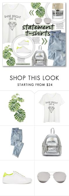 """""""Say What: Statement T-Shirts"""" by julijana-k ❤ liked on Polyvore featuring Rainforest, WithChic, Wrap, Givenchy, Linda Farrow, Smith & Cult, contest, jeans, Tshirt and statementtshirt"""