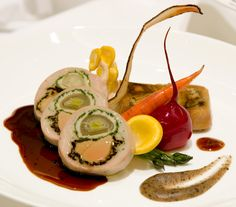 Guinea fowl stuffed with cabbage and foie gras