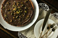 Dark Chocolate Cardamom Mousse Tart with a Candied Ginger Crust