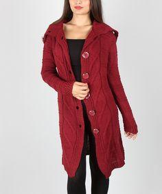 Look what I found on #zulily! Intertrade Burgundy Oversize-Button Wool-Blend Cardigan by Intertrade #zulilyfinds