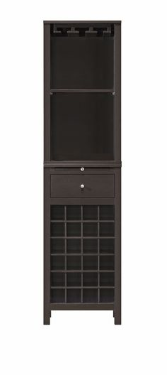 Kentucky Brown Modular Modern Wine Cabinet with Hanging Wine Glass Rack
