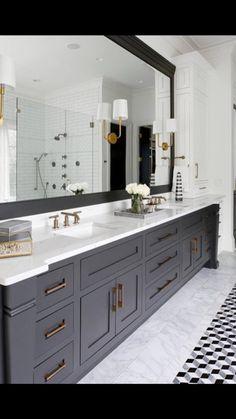 Dark gray bathroom, black vanity bathroom, mint bathroom, bathroom bin, g. Black Vanity Bathroom, Master Bath Vanity, Small Bathroom, Bathroom Bin, Bathroom Mirrors, Gray Vanity, Navy Bathroom, Bathroom Colors, Black And White Master Bathroom