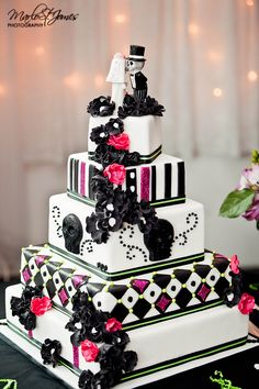 If you are planning a Halloween or a Goth-inspired wedding, this roundup will help you to decide on one of the most important things – your cake! A Hallowedding cake is often a real piece of confectionary art. Skull Wedding Cakes, Sugar Skull Wedding, Halloween Wedding Cakes, Halloween Cakes, Wedding Cake Designs, Skull Cakes, Wedding Ideas, Pink Halloween, Pretty Cakes
