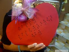 Made a Braille Valentine's Day card and attached it to a box of chocolates for our visually-impaired friends who work at a blind massage centre.