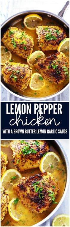 Chicken that gets coated in lemon pepper seasoning and is baked to tender and juicy perfection  The brown butter garlic  hellip Chicken that gets coated in lemon pepper seasoning and is baked to tender and juicy perfection. The brown butter garlic lemon sauce is absolutely incredible! Source by hollyanngarner