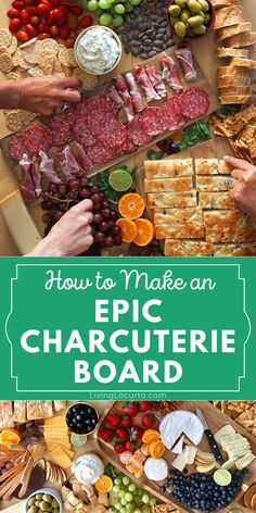 Epic charcuterie board ideas. Easy to make meat, cheese, bread, fruit, vegetables and nuts appetizer. Amazing no bake recipe with a huge wow factor! Tzatziki Recipes, Homemade Tzatziki, Party Food For Adults, Easy Party Food, Baking Recipes, Snack Recipes, Snacks, Party Recipes, Yummy Appetizers