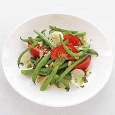 Green Beans with Tomatoes, Mint, and Toasted Pine Nuts.....had this ...