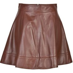 Michael Kors Collection Leather Circle Skirt ($500) ❤ liked on Polyvore featuring skirts, saias, bottoms, leather, michael kors, brown, flared skirts, leather skater skirt, circle skirt and leather circle skirt