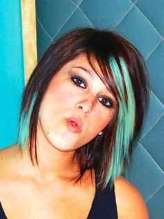Turquoise and brown hair