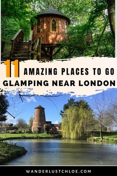 Fancy going glamping near London? From treehouses and yurts to log cabins and houseboats, these chic escapes will give you your countryside fix. Find out about the best treehouse in Kent and the cutest shepherd's hut in Surrey. Book a beautiful houseboat for the weekend or find a yurt for a group weekend away. These unusual places to stay near London are seriously special. #London #VisitEngland #QuirkyAccommodation