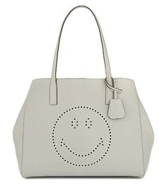 ANYA HINDMARCH Ebury Smiley Leather Shopper. #anyahindmarch #bags #hand bags #suede #tote #