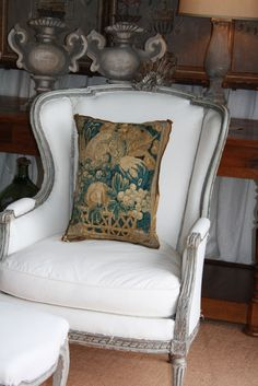 Flemish tapestry pillow by E Alexander Designs European Decor, French Chairs, Antique Chairs, Wingback Chair, Furniture Decor, Decor Styles, Decorative Pillows, Sweet Home, Cushions
