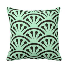 """Art Deco Japan (Mint Green & Black) Accent Pillows - Coordinated to go with HoMeArts """"Art Deco Cut-A-Way"""" wall clock, this soft, comfy pillow features the same Japanese Art Deco Shells Wallpaper Design from the 1920's in black on a Mint Green Background. See other products with this design + color choices @ www.zazzle.com/icondoit+adj+gifts?rf=238155573613991097&tc=pnt #artdecopillows #artdecohomedecorating"""