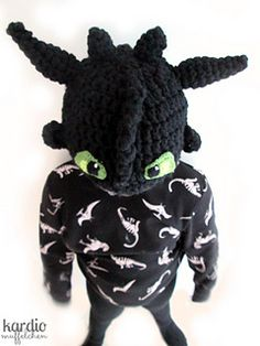"""This Dragon Hat was inspired by the cute dragon hero """"Toothless"""". It fits children and adults as the hat will be adjusted during the pattern."""
