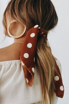 gold hoop earrings + brunette balayage hair + polka dot bandana ponytail + off the shoulder top | #ootd #brunette updo hair ideas