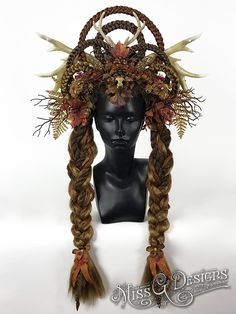 This lovely woodland creature is vegan friendly. Made with faux antlers, feathers, fur and skull.  etsy.com/shop/MissGDesignsShop #autumn #fall #headdress #headpiece #antlers #antlerheaddress #veganfashion #missgdesigns #fairy #faerie #woodlandcreature #fairytale #mothernature #featherheaddress