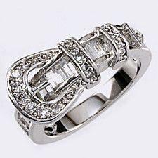 CZ BELT BUCKLE RING (Choose Size)