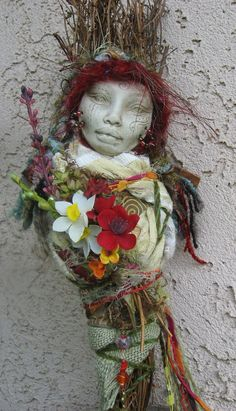 Spirit doll. RESERVED Brigid Celtic Goddess, Art Doll Assemblage OOAK