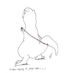 t-rex trying to jump rope