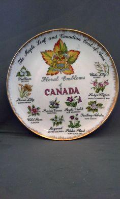 Floral Emblems of Canada Porcelain Souvenir Plate Hand Painted Japan Enterprise Exclusive Toronto