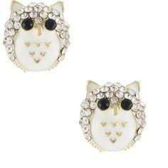 Miso Puffed Owl Stud Earrings ($8.08) ❤ liked on Polyvore