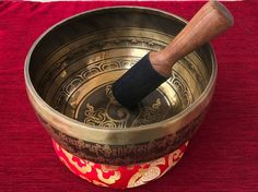 Mantra Carved Tibetan Singing Bowl 8 inch with Free Cushion and Mallet