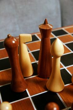 Mid Century Modern Hermann Ohme Wooden Chess Set Minimalist