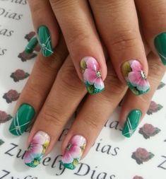 Glam Nails, Hot Nails, Nail Manicure, Beauty Nails, Creative Nail Designs, Creative Nails, Nail Art Designs, The Art Of Nails, One Stroke Nails