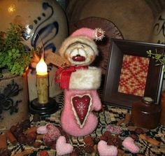 "Primitive Valentine Heart Mitten Frosty Snowman 7"" Doll Vtg Patti's Ratties Bear"