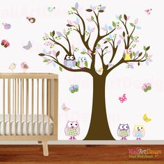 Vinyl Wall Owl Tree Decal Nursery Wall Stickers by wallartdesign, $125.00