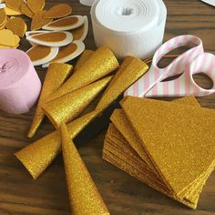 Gold unicorn horns in the making! I've been hustling, hustling! I am a little behind on my orders due hurricane Harvey but I don't feel stressed instead I feel so blessed that I can have all this sweet mess on my craft table right now. living just outside Unicorn Themed Birthday Party, Birthday Party Decorations, Girl Birthday, Unicorn Baby Shower, Unicorn Crafts, Creation Deco, Partys, Unicorn Horns, Blessed