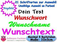 Dein+Text+Bügelbild+Flexfolie+10cm+21+Schriftarten+von+Zellmann+Fashion+auf+DaWanda.com