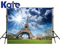 Kate Customize Digital Printing Studio Background Grandiose Eiffel Tower  Photographic Sky Wood Floor  For Photo Studio YY00440 #Affiliate