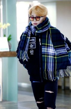Awww Jimin look at him all bundled up with his scarf so cute