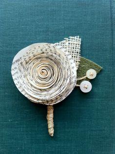 Unique Recycled Paper Boutonnière