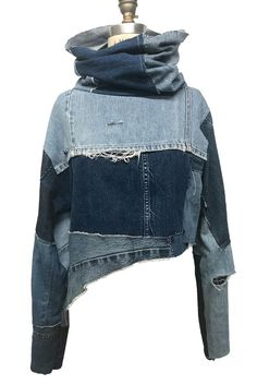 Denim Turtle Neck , Denim clothing, denim shirt, denim long sleeve - Reverse the gravity by turning the jeans into upside down shorts. Diy Jeans, Jeans Refashion, Artisanats Denim, Denim Shirts, Distressed Denim, Diy Kleidung Upcycling, Jean Diy, Mode Hippie, Diy Vetement