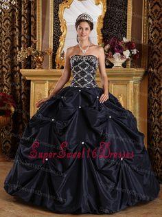 Popular Black Sweet 16 Quinceanera Dress Strapless Beading Taffeta Ball Gown