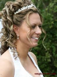 half up half down wedding hairstyles with tiara and veil - Google Search