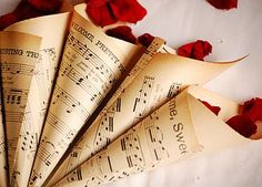 Set Of Ten Vintage Music Confetti Cones