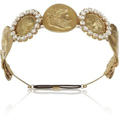 Dolce & Gabbana Gold-tone Swarovski crystal coin headband ($1,491) ❤ liked on Polyvore featuring accessories, hair accessories, headband, jewelry, dolce & gabbana, gold, head wrap headband, swarovski crystal headband, dolce&gabbana and swarovski crystal hair accessories