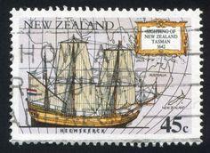 NEW ZEALAND - CIRCA 1992: stamp printed by New Zealand, shows Abel Tasman's ship Heemskerck, circa 1992