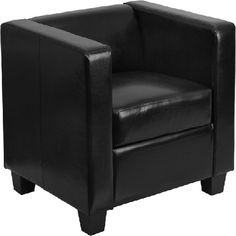 Simple chic black chair. Flash Furniture Black Leather Chair - FLSYH9011BKLEAGG